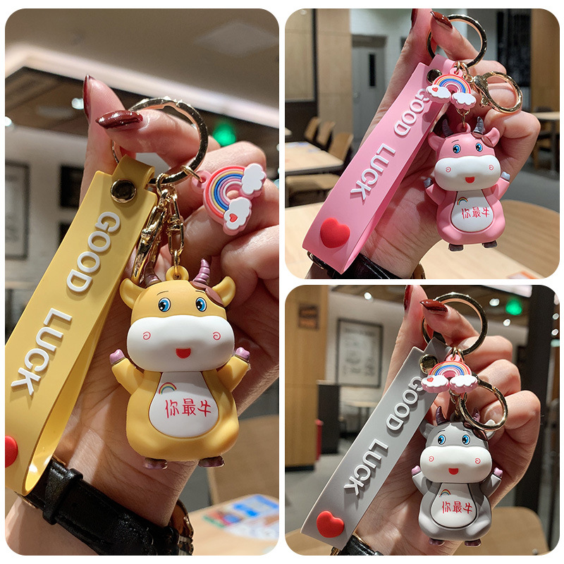 """Happy """"Good Luck"""" Cow Keychain Charm and Wristlet for Lucky Days"""