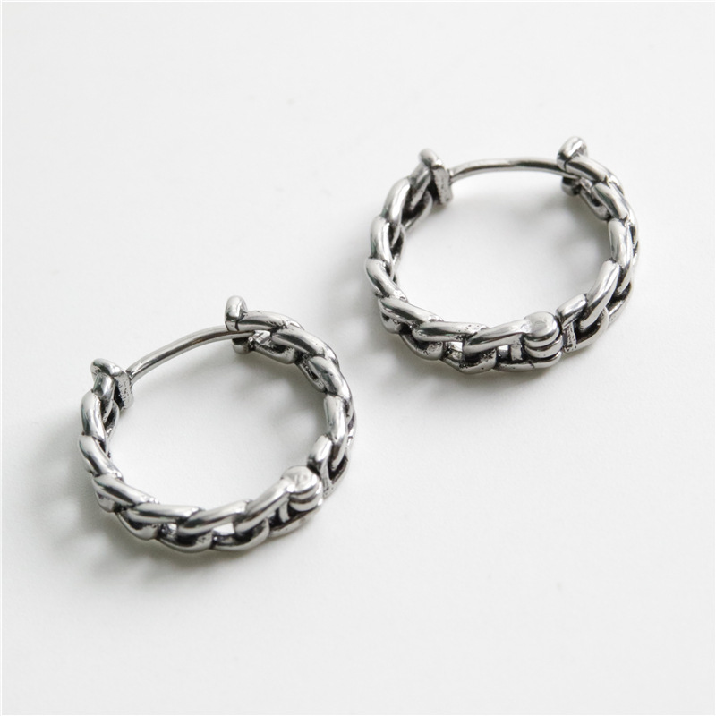 Titanium Steel Chain Ring Earrings for Pierced Boys