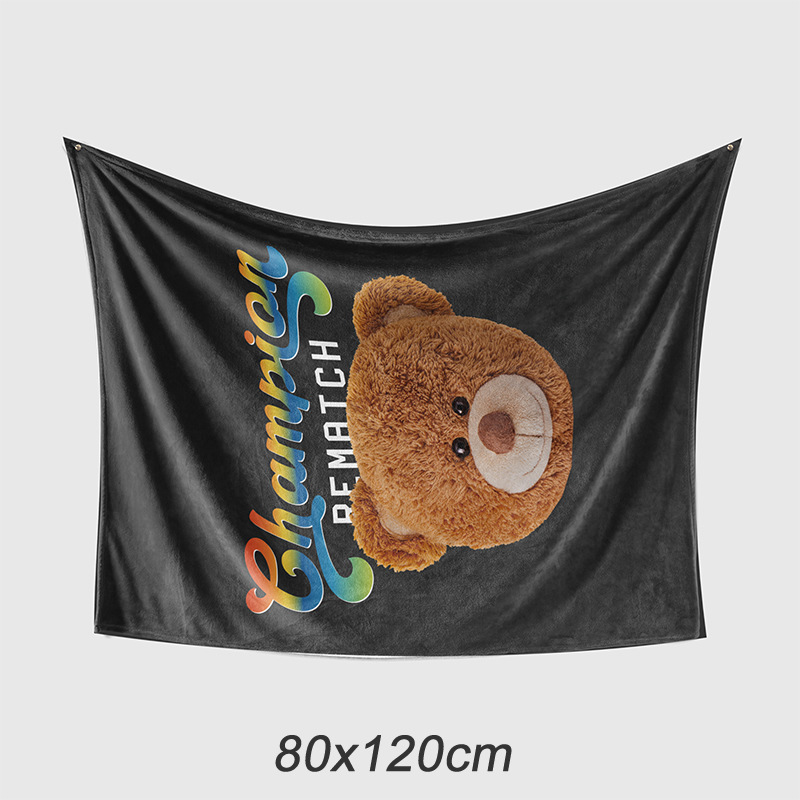 Cute Bear on Black Blanket