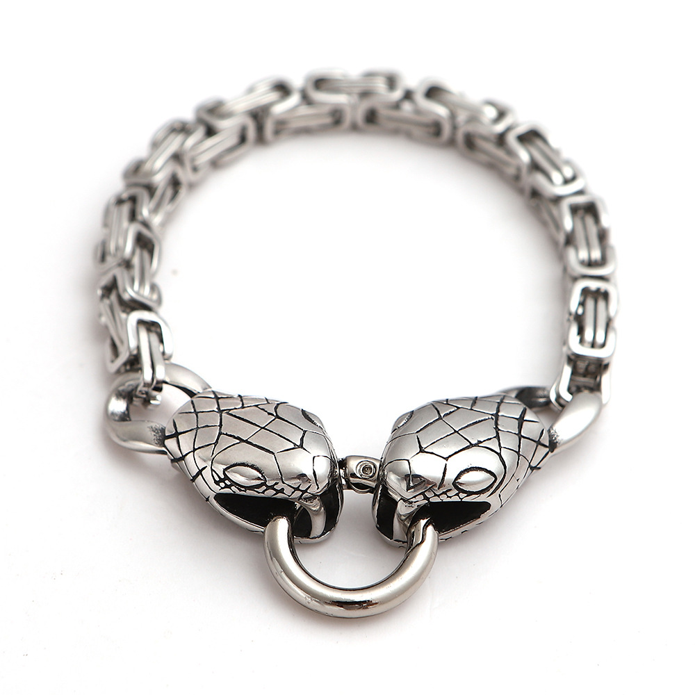 Funky Snake Head Chain Bracelet for Matching Streetwear Outfits