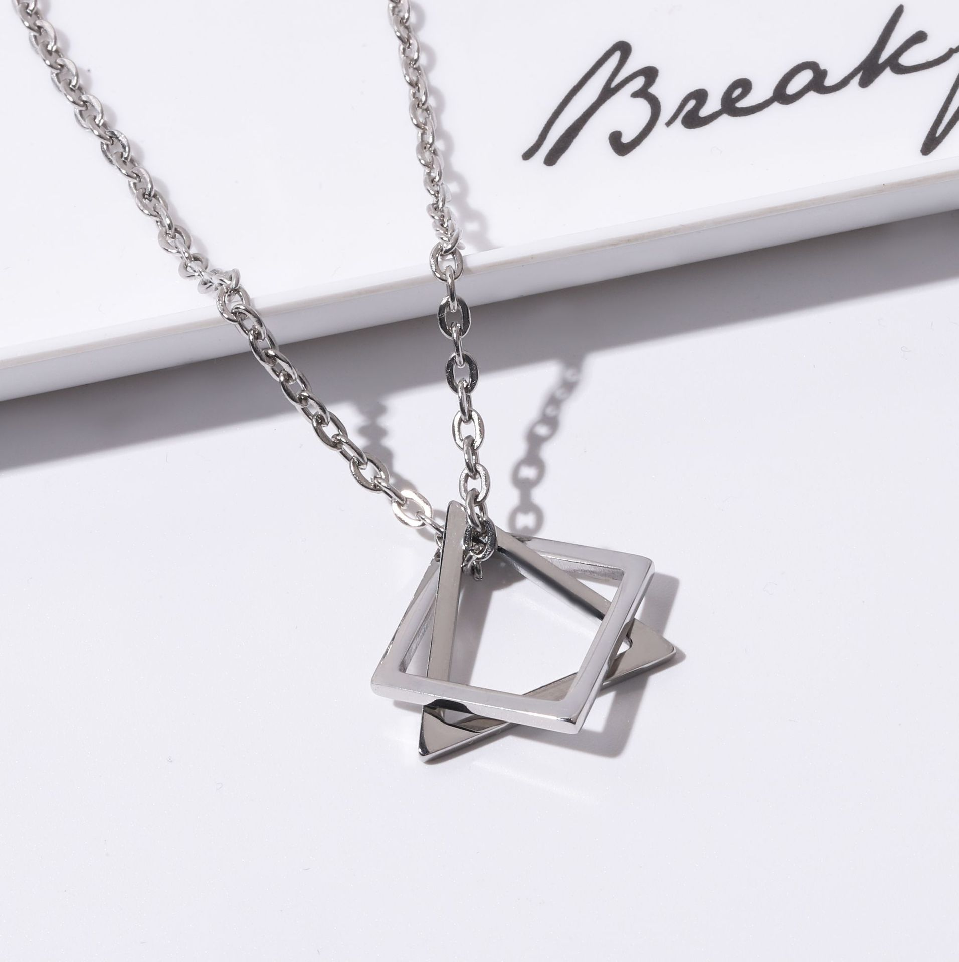 Geometric Two Triangle Stainless Steel Necklace for Hip-Hop Stylish Wear