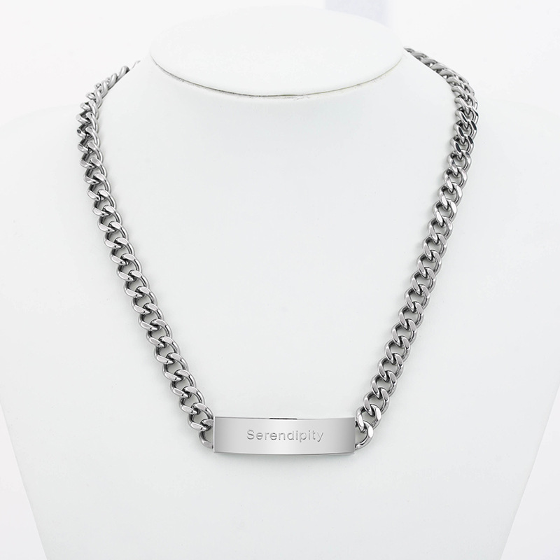Silver Plated Stainless Steel Curb Chain Necklace for Punk Rock Look
