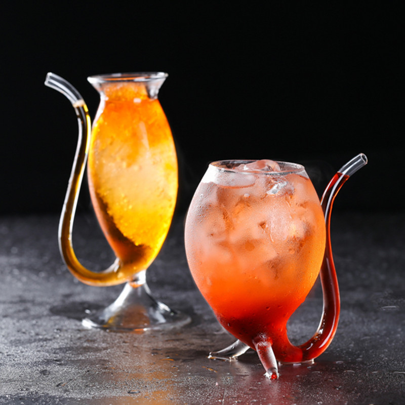 Creative Fun Glass Designed with Straw Glass for Party Club Use