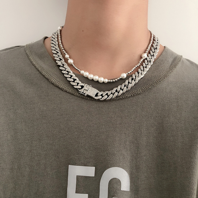 Titanium Steel  Dual Necklace with Multiple Faux Pearl for Rap Star Fashion