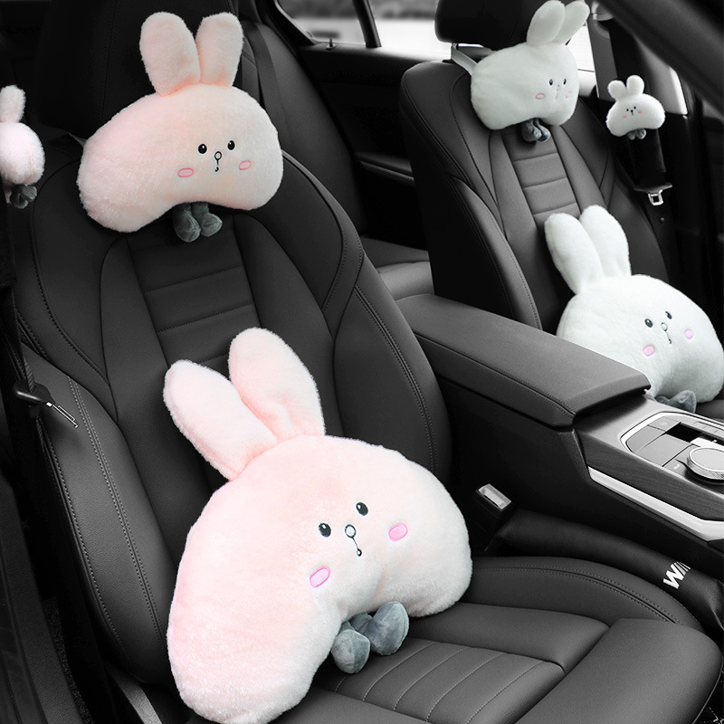 Cute White/Pink Rabbit Pillow for Car Accessories