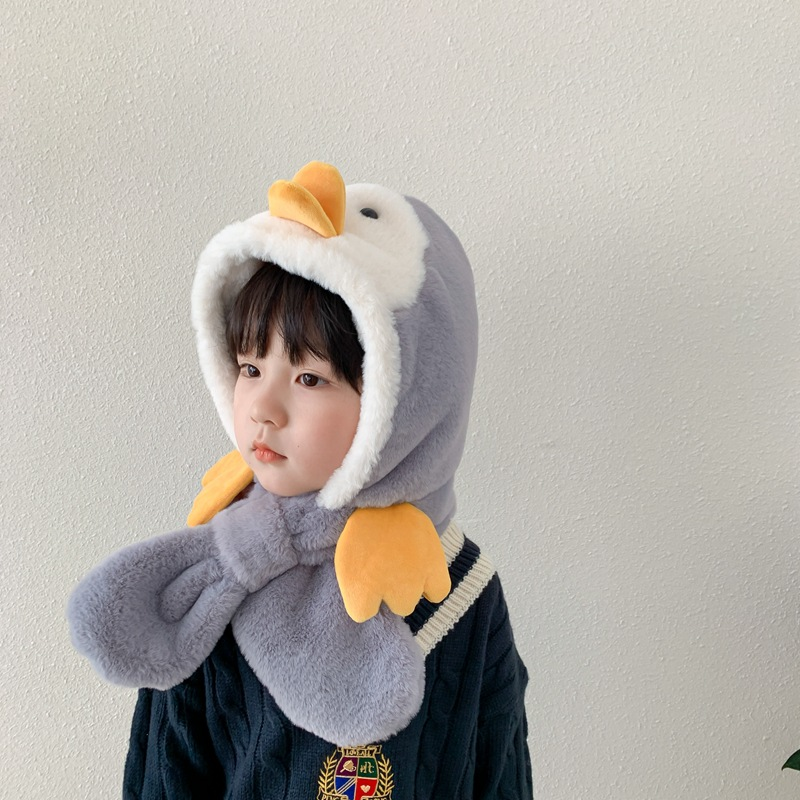 Small penguin Plush Hat Scarf for Cute Winter Wear