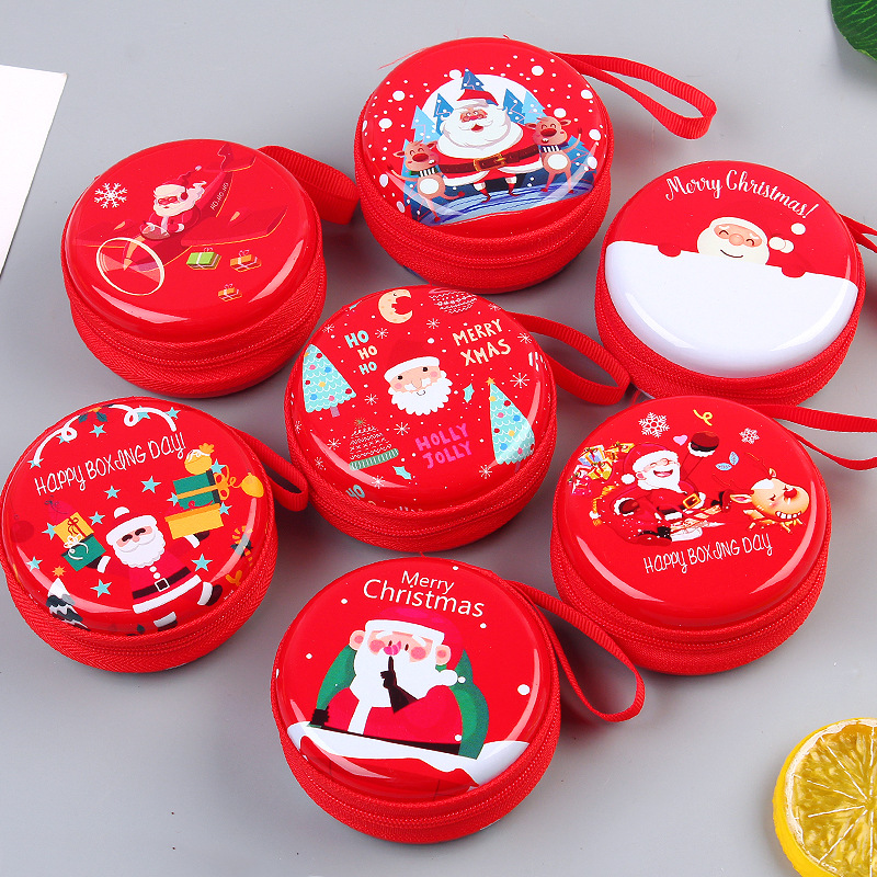 Circular Hard Shell Christmas-Themed Coin Purse for Coins and Earphones Storage