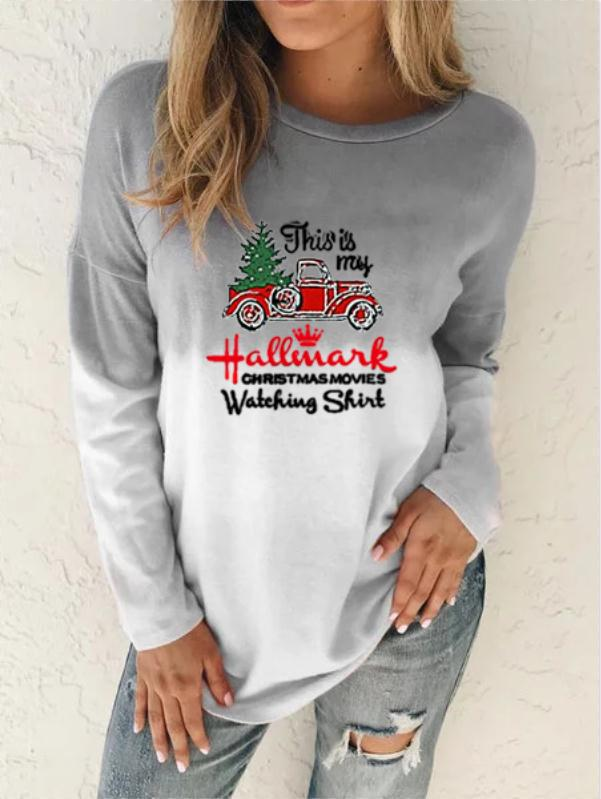 Gradient Long Sleeves T-Shirt for Christmas Season Outfit