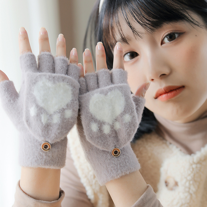 Adorable Warm Paw Printed Gloves for Cute Winter Wardrobe Accessories