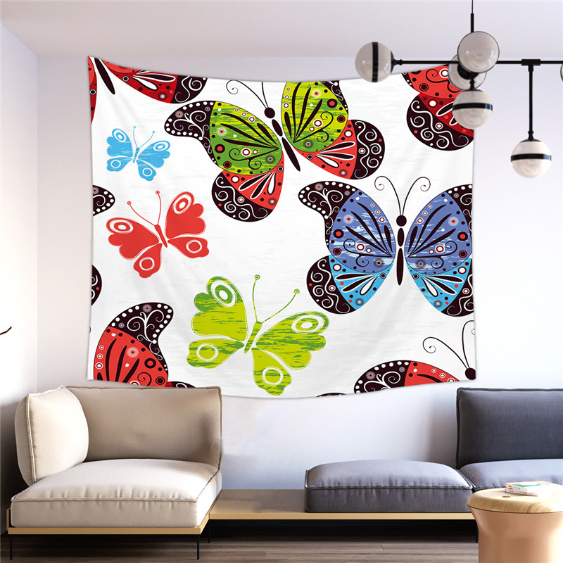 Adorable Butterflies and Flowers Tapestry for Bedroom