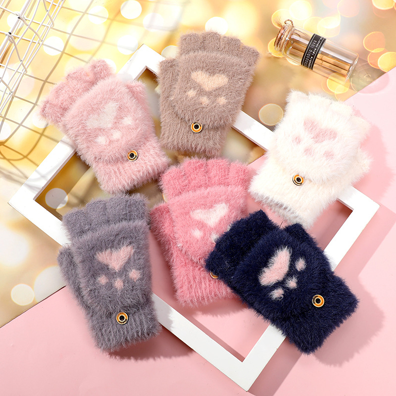 Cute Animal Paw Half Finger Gloves for Winter Long Walks In The Park With Pet