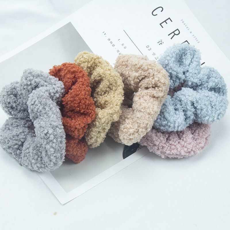 Plush Wool Hair Scrunchie for Colorful Outfit Coordination