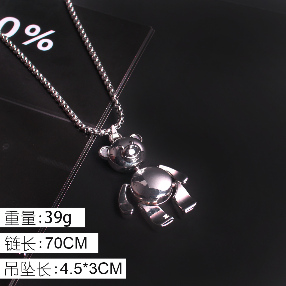 Cute Titanium Steel Bear Necklace for Adding Fun to Casual Outfit