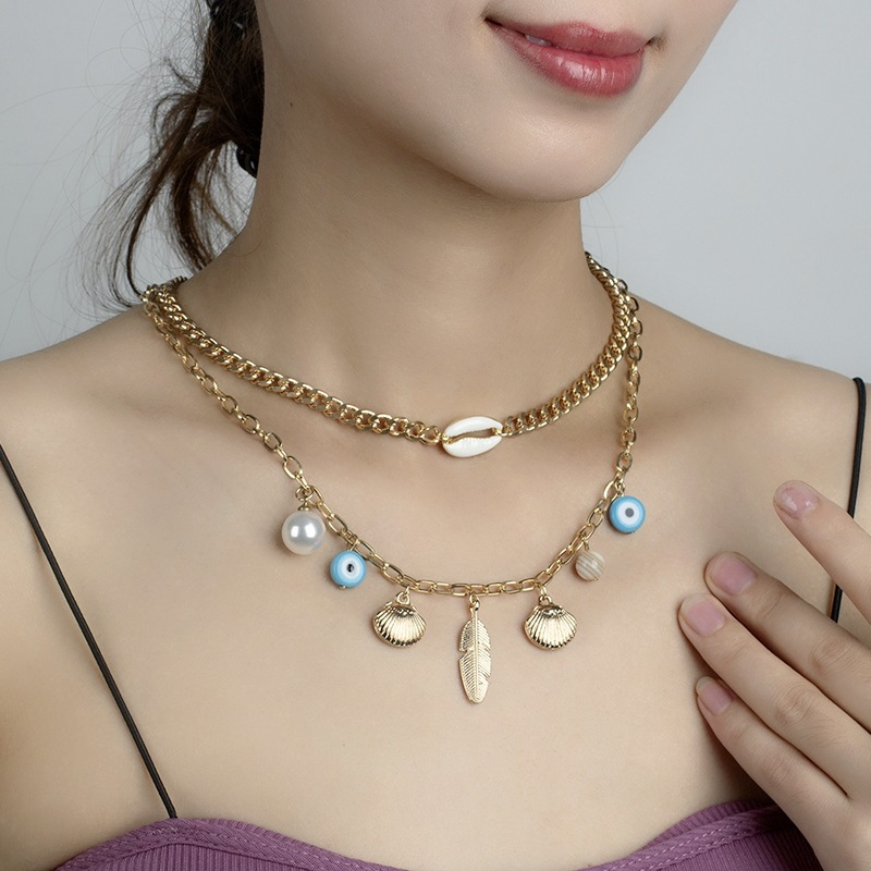 Artistic Double Strand Necklace with Pendants for Summer Accessories