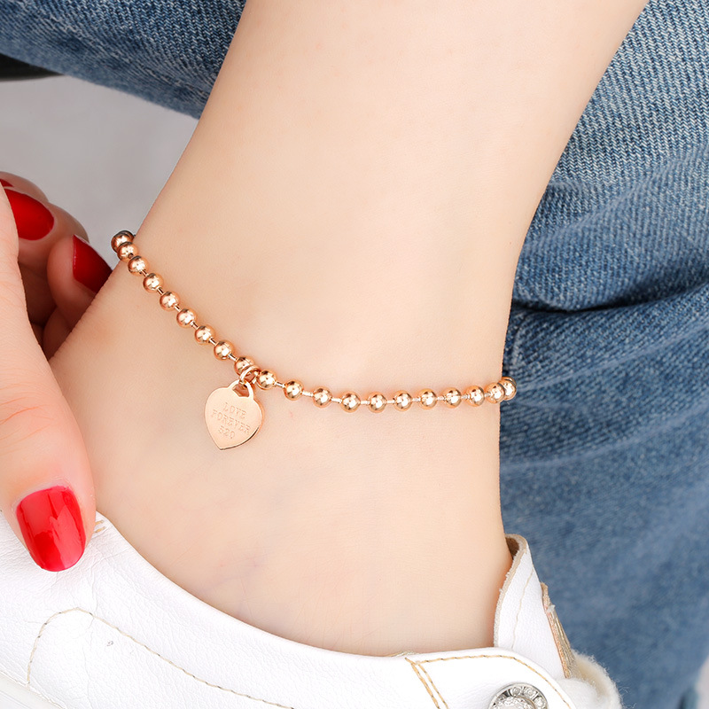 Classy Titanium Steel Anklet with Hear Pendant for Casual Lunch Dates