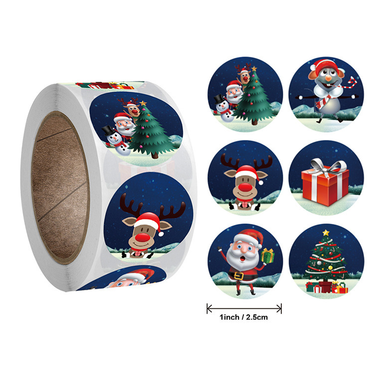 Endearing Circle Stickers for Christmas Gifts