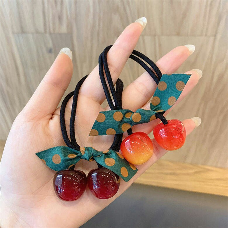Adorable Red Cherry Rubber Hair Ties For Casual Look