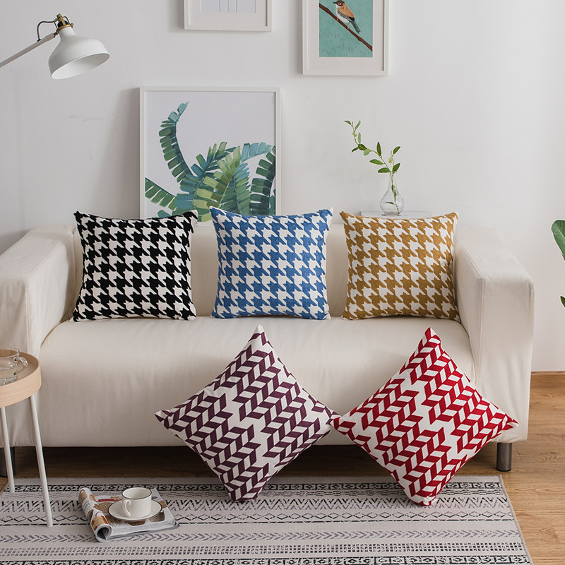 Hatching and Houndstooth Pillow Case