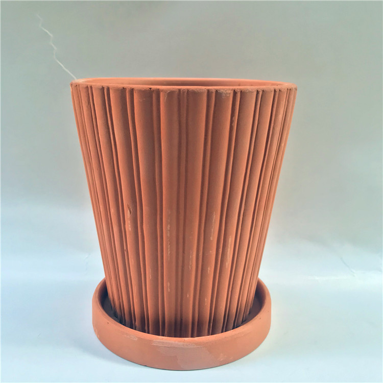 Hues of Brown Striped Round Pots Set for Everyday Home Gardening