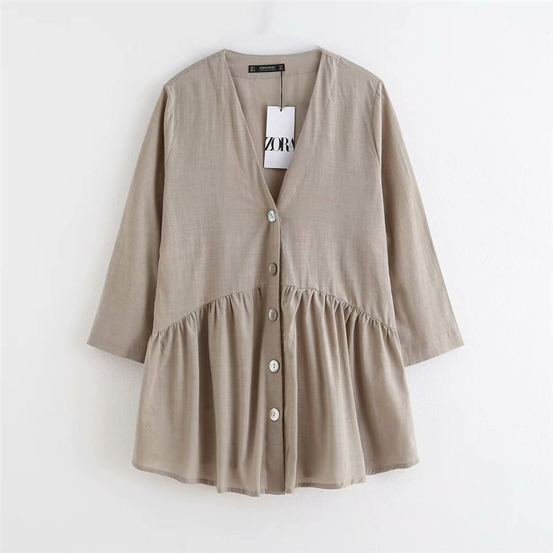 Breathable Loose V-Neck Temperament Buttoned blouse for Casual and Chic Looks