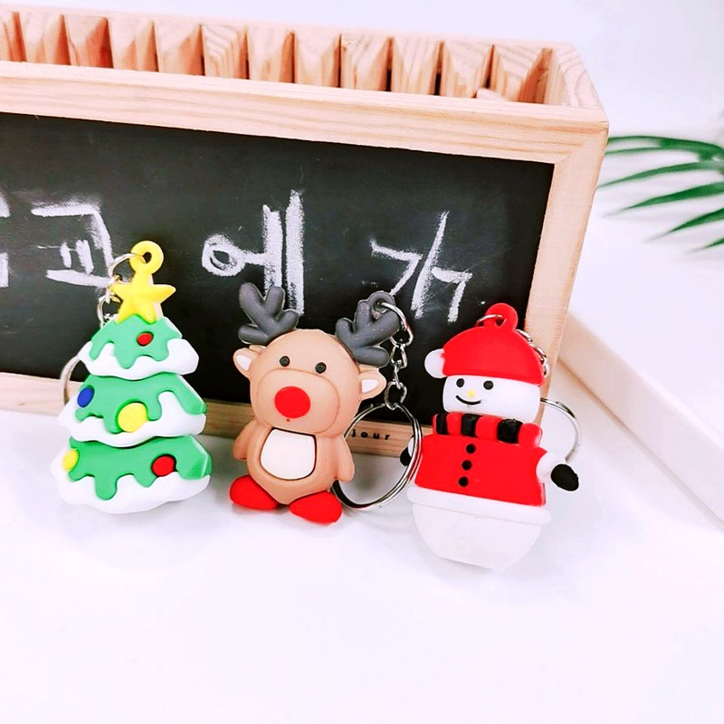 Exquisite Christmas-Themed Soft Rubber Keychain for Office Giveaways