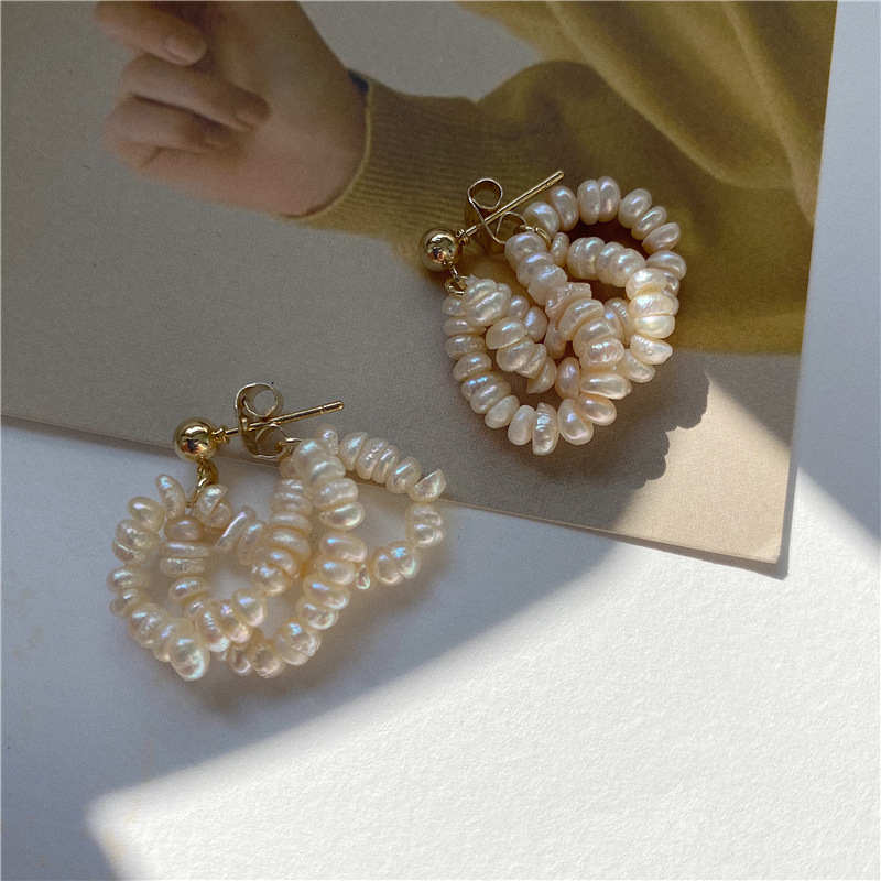 Multi-Layer Small Pearls Golden Hue Earrings for Extravagant Fashions