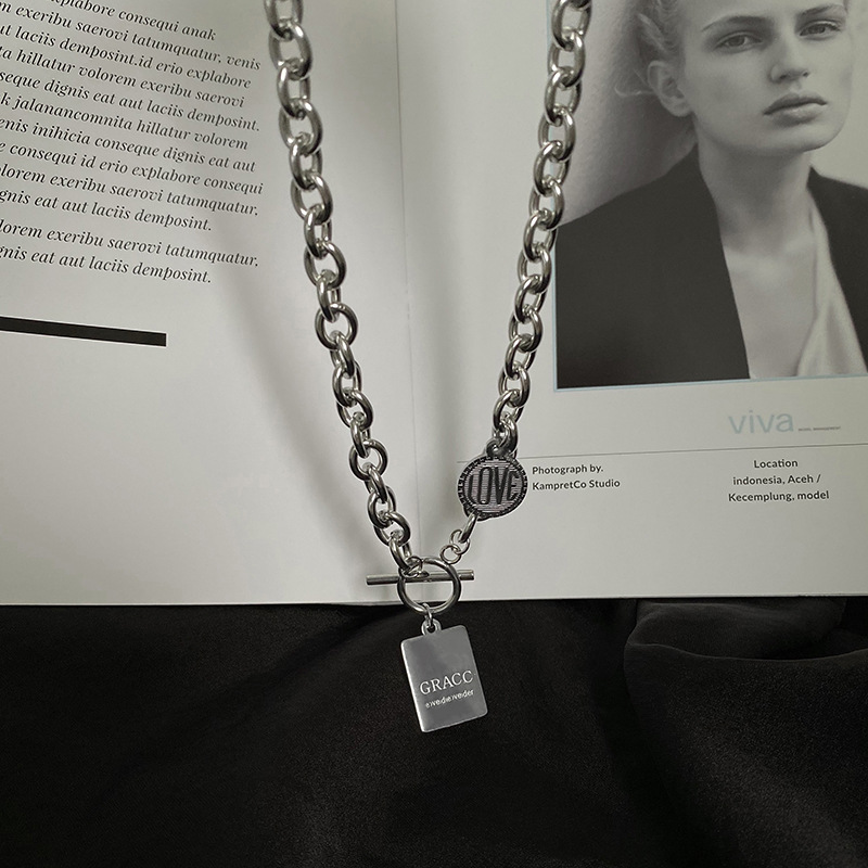 Sturdy Stainless Steel Cable Chain Necklace with Inscribed Pendants for Rugged Look