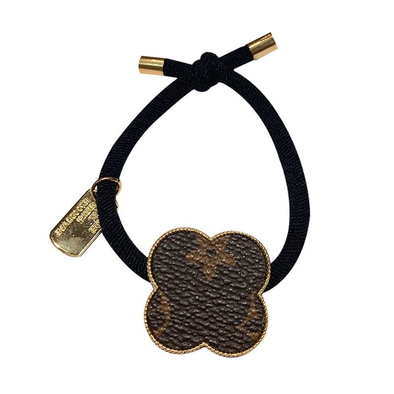 Classy Faux Leather Designer Pattern Gold Charm Hair Ties for Sassy Hair Accessories