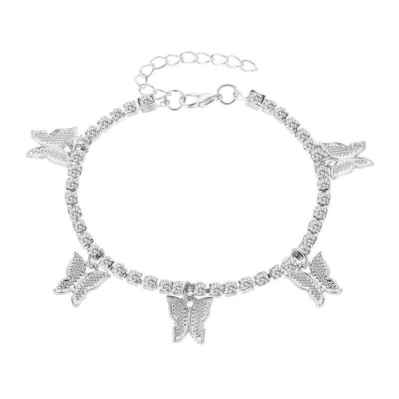 Lavish Rhinestone Anklet With Small Butterfly Details For Beach Jewelry