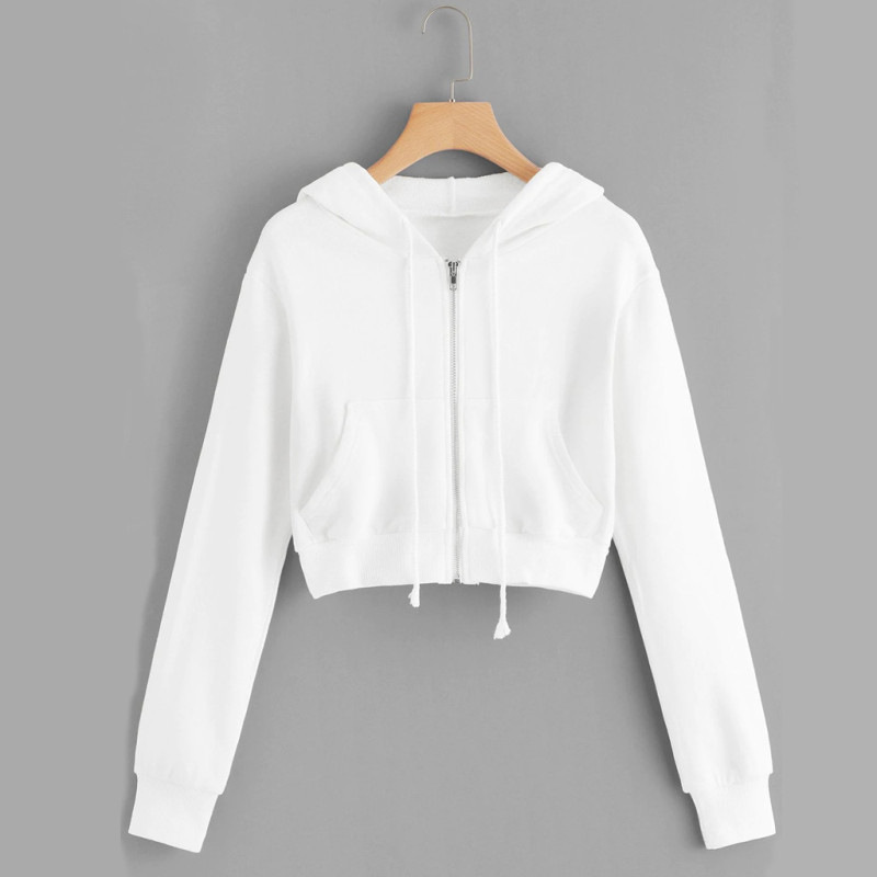 Comfy Cotton Crop Top Hoodie with Pockets for Trendy Girls