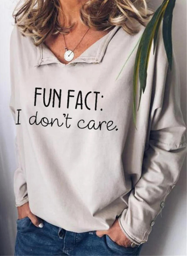 """Fashionable """"I don't care"""" Buttoned Long Sleeve Shirt for a Day Out with Friends"""