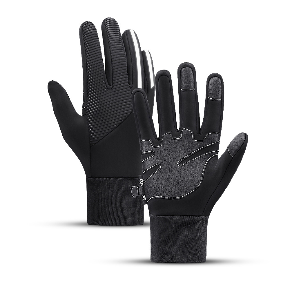 Warm and Soft Embossed Design Water-Repellent Anti-Slip Gloves for Snow Activities