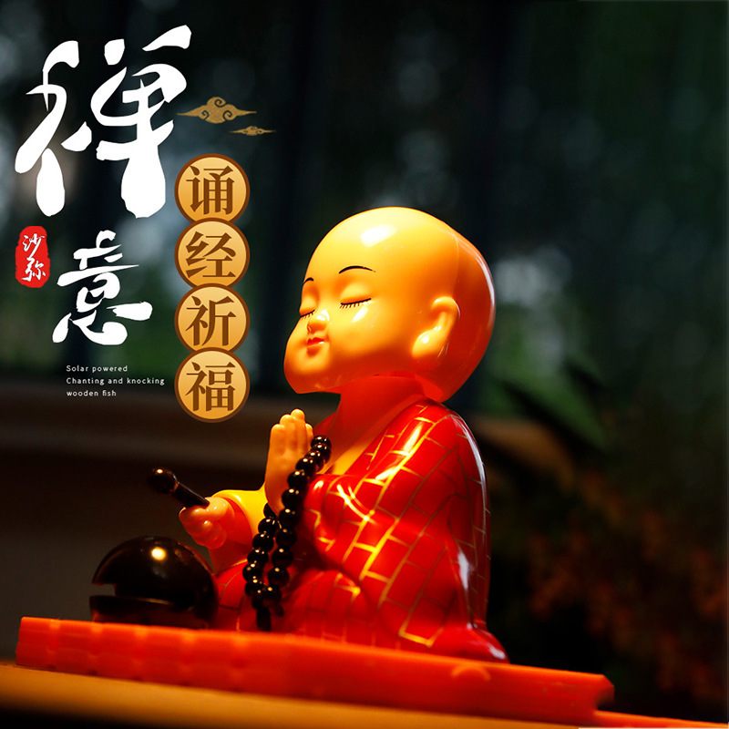 Creative Solar-Powered Little Monk/Buddha for Attracting Luck