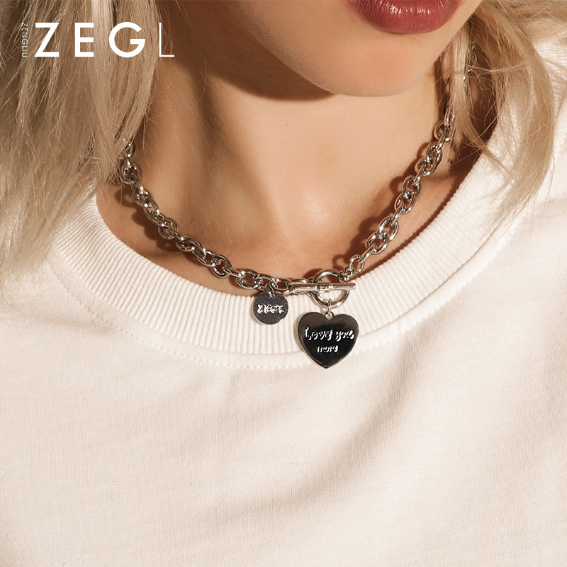 Chunky Chain Heart Pendant Necklace with Toggle Clasp for Trendy Women