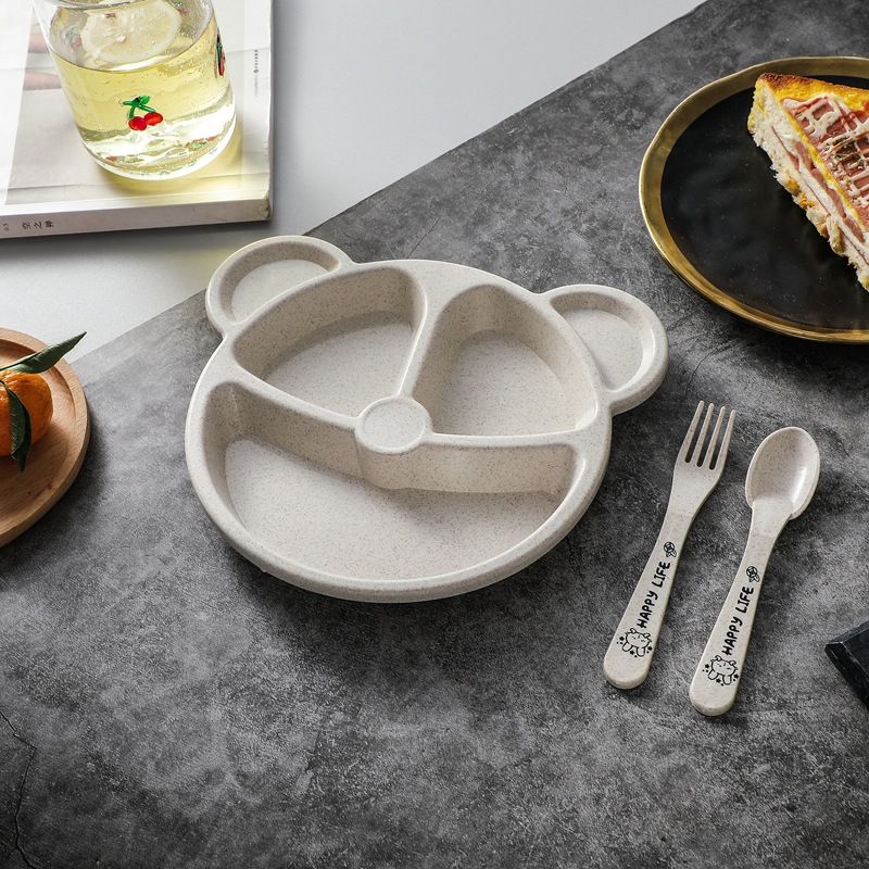 Bear Grid Plate with Spoon and Fork for Children