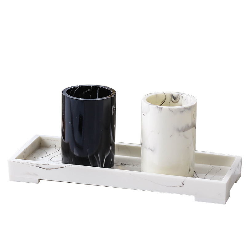 Classy Black and White Marble-Like Mouthwash Cup for Minimalist Themed Homes