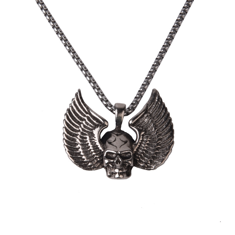 Grotesque Winged Skull Design Necklace for Hippies