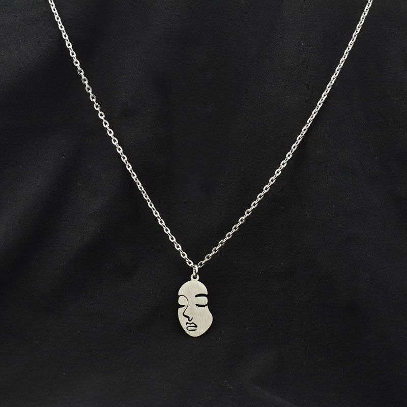 Abstract Face Pendant Necklace for Simple Clothes