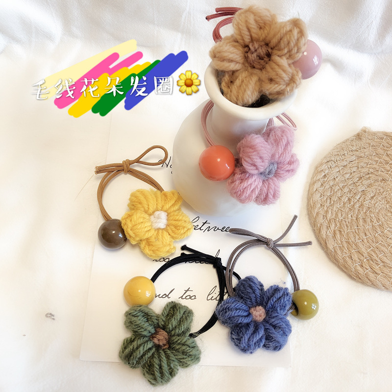 Cute Flower Wool Hair Ties for Small Item Birthday Gifts