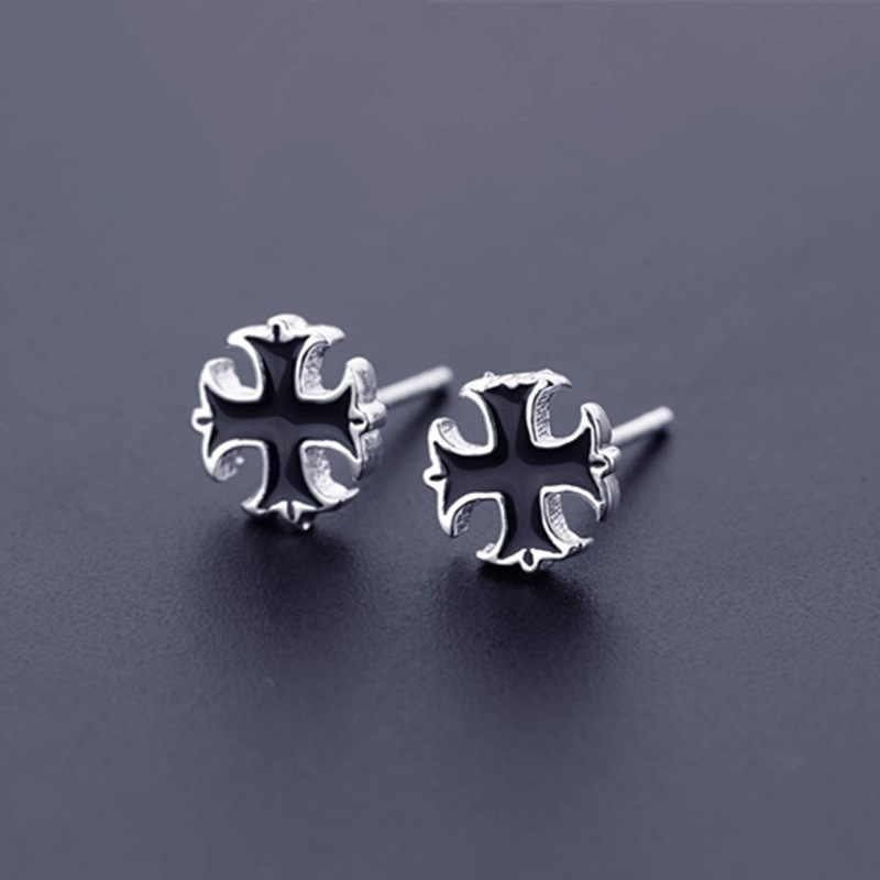 Black Cross Earrings for Men and Women