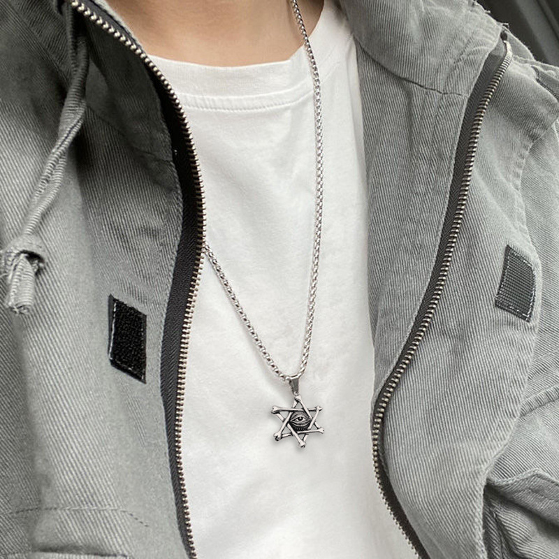 Mysterious Devil's Eye Hexagram Pendant Chain Necklace for Self-Expression