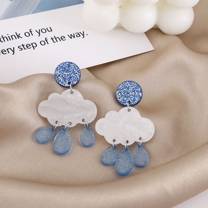 Glittery Blue Cloud Raindrop Shaped Alloy Earrings for Creative Outfits