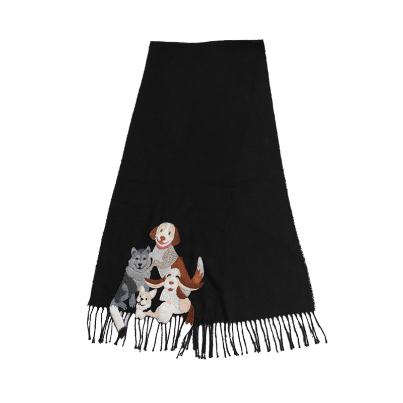 Embroidered Tassel Scarf for Winter Wear