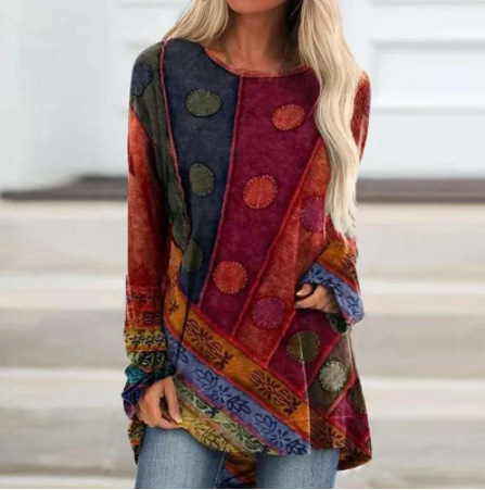 Classic Patterned Long Sleeve Top for Ladies' Bohemian Looks