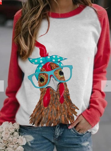 Basic Chicken Print Long Sleeve T-Shirt for Country Side Vacation