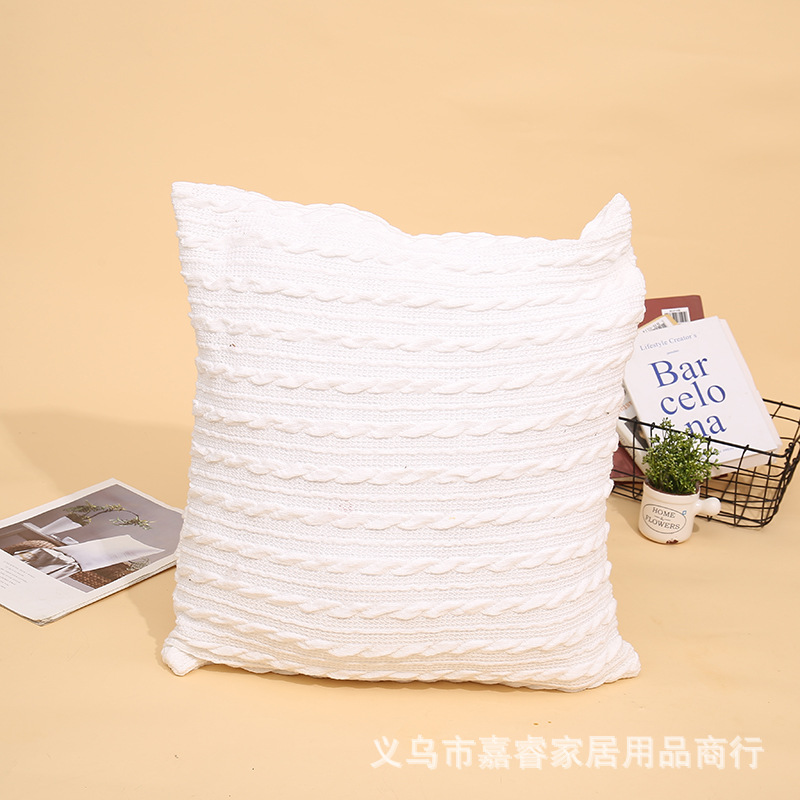 Knitted Twist Cotton Linen Pillowcase for Sofa Accent