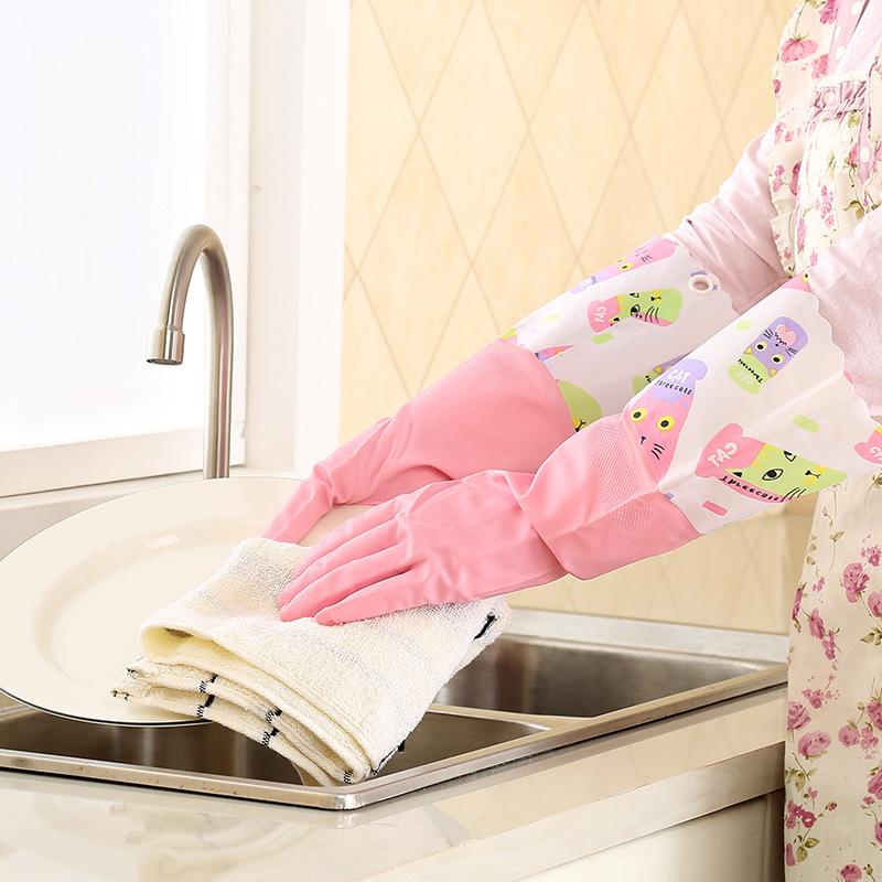 Plain and Pink Latex Gloves for Doing One's Laundry