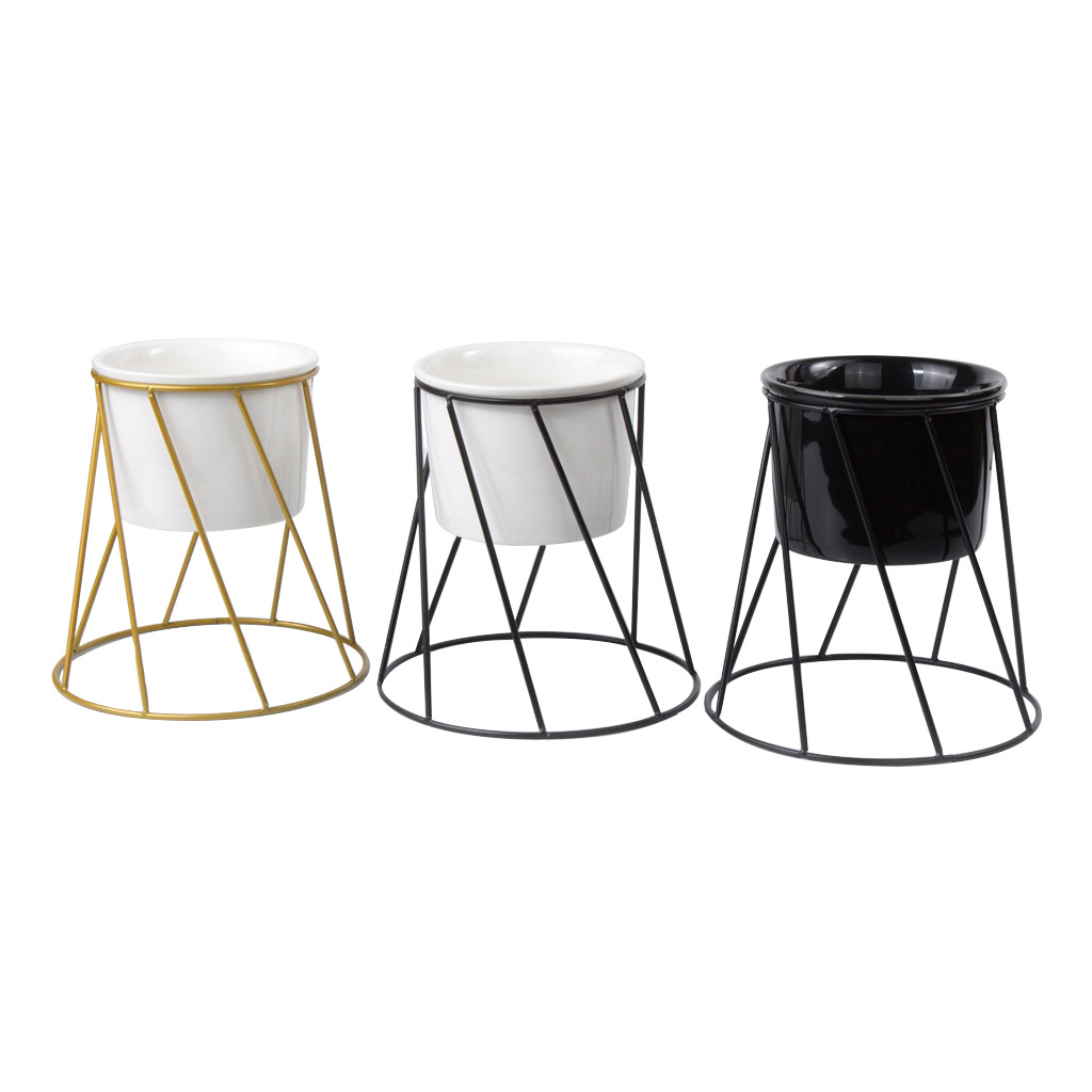 Modern Ceramic Planter with Wrought Iron Stand for Minimalist Homes