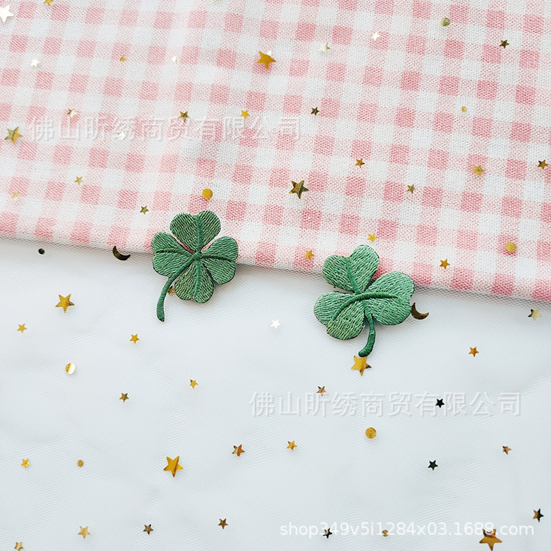 Classic Leaf Clover Embroidery Cloth Patch for Customized Plain Shirts