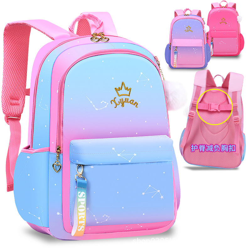 Stunning Galaxy Print in Soft Colors Schoolbag for Kids